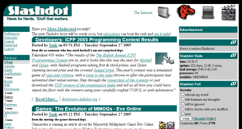 Slashdot's homepage as normally seen