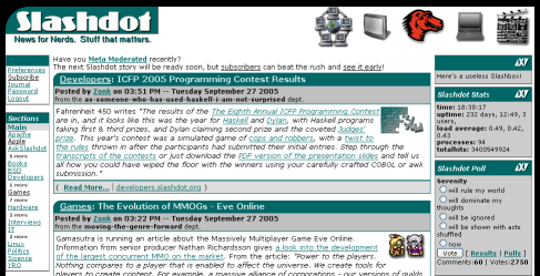 Slashdot's homepage with the CSS changes