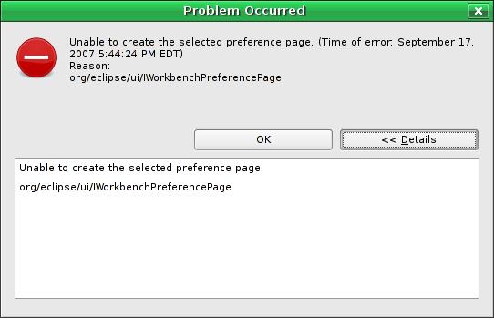 Problem Occurred: Reason: org/eclipse/ui/IWorkbenchPreferencePage