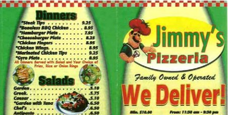 Jimmy's Pizzeria menu: a PDF containing a scan of their physical, take-out menu.