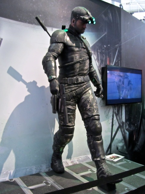 A life-size statue of Sam Fisher
